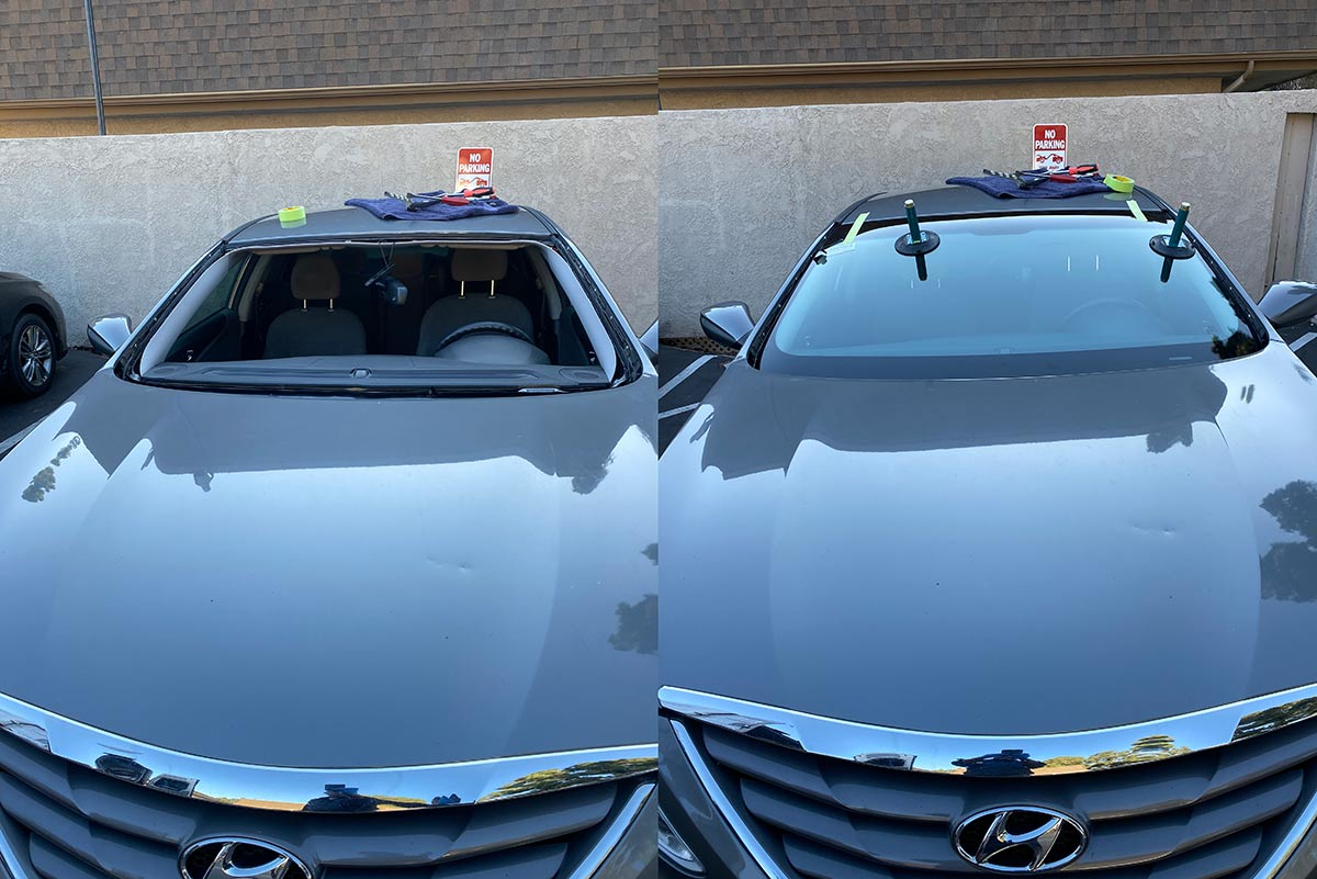2013 Hyundai Sonata windshield replacement before and after