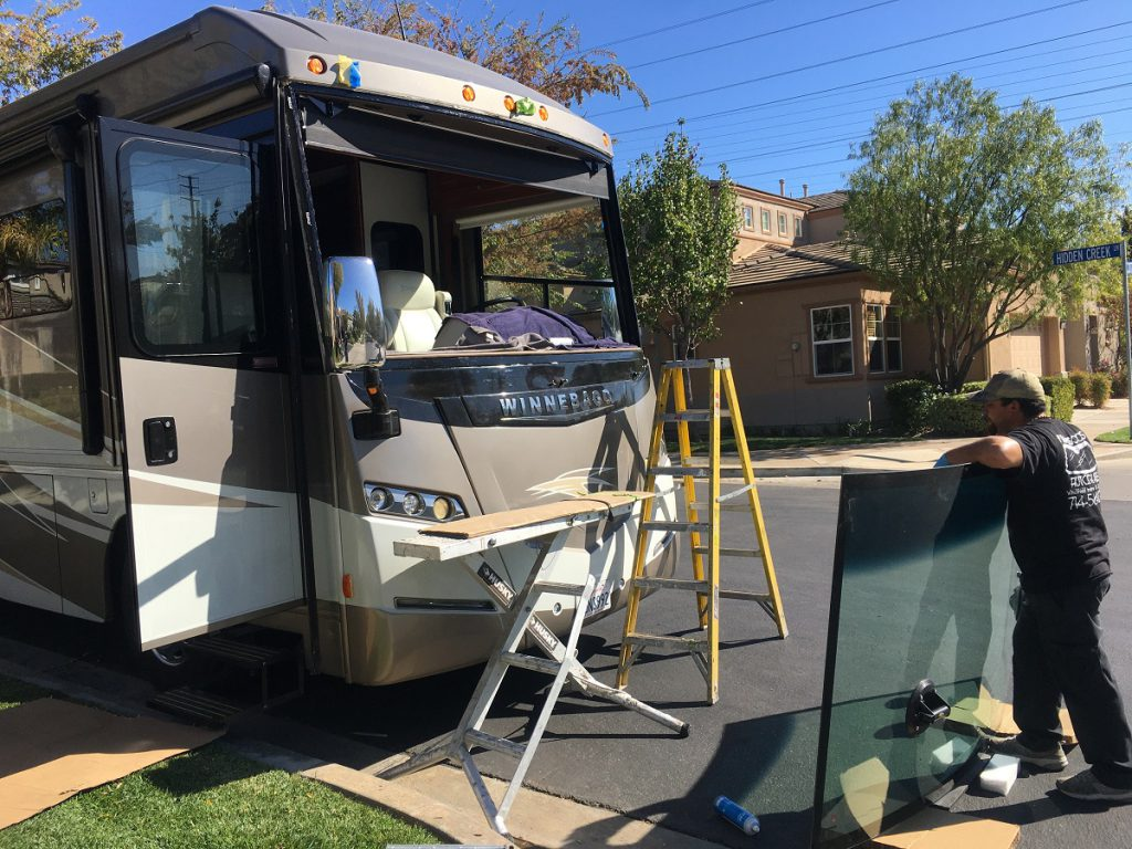 Technician Replacing Winnebago Windshield