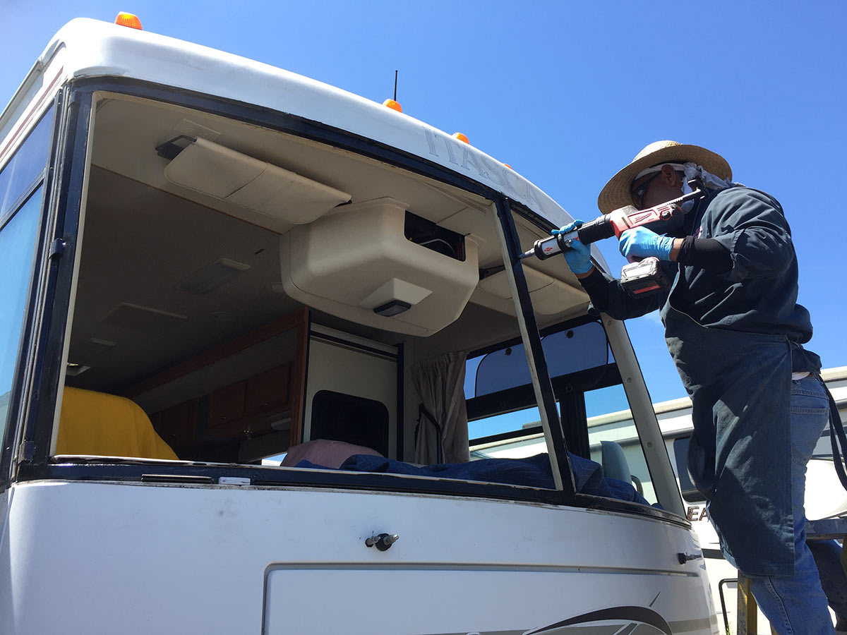applying adhesive to rv windshield