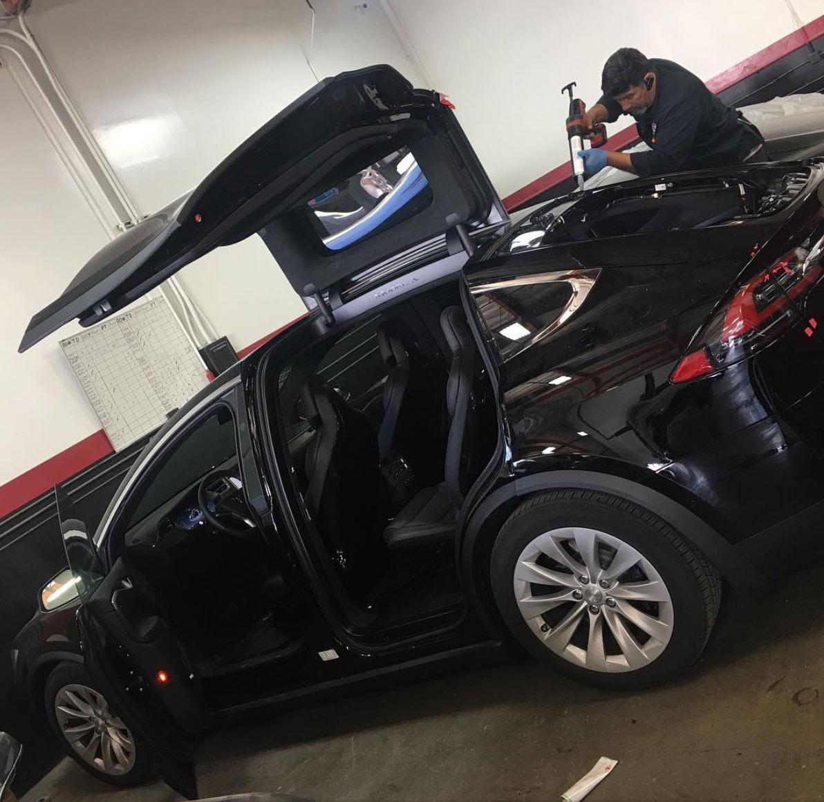 installing back window on Tesla X