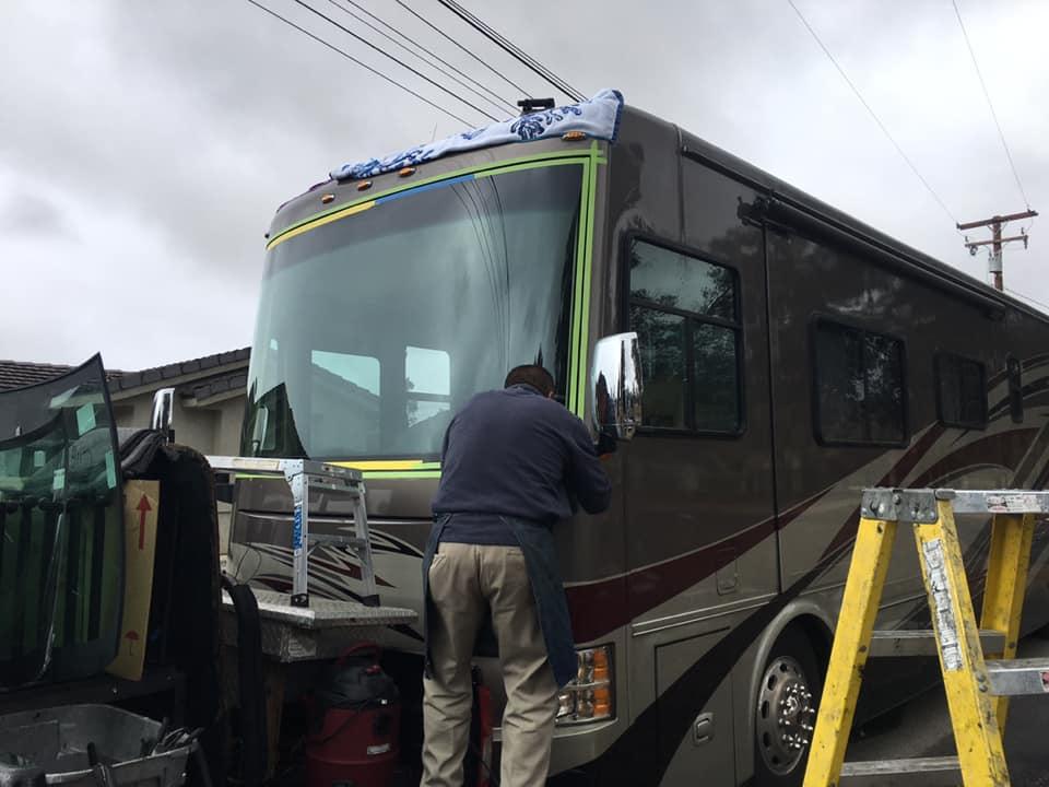 Tiffin Allegro RV windshield replacement in action