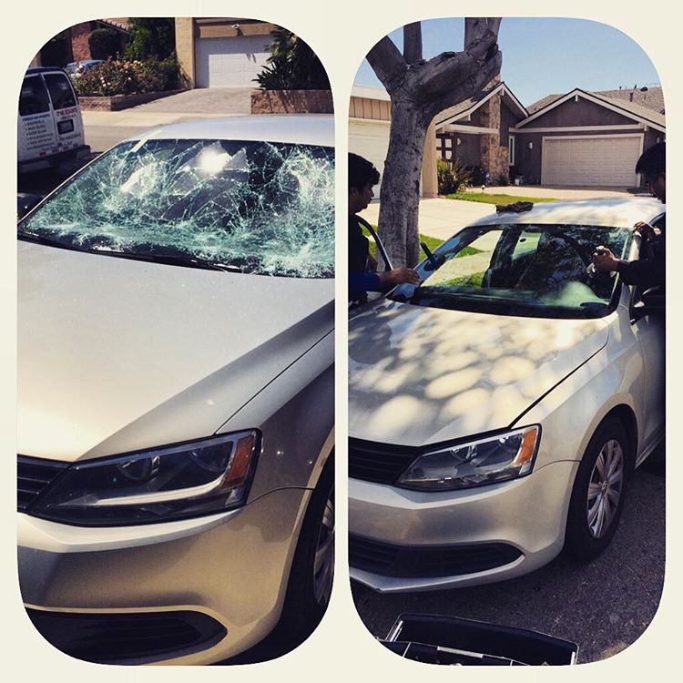 Toyota Camry windshield replacement before and after